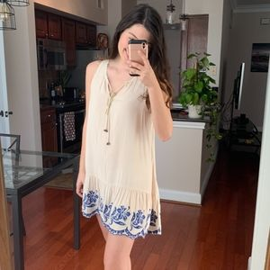 Soieblu Cream and blue embroidery cover up Small